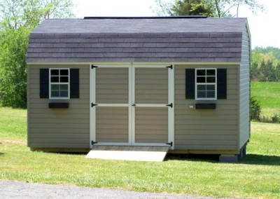 12 x 16 V-High Barn with clay siding, white trim, onyx black shingles, and black shutters